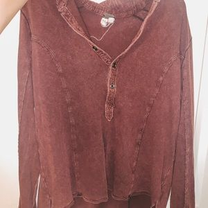 Burgundy free people long sleeve top size xs!